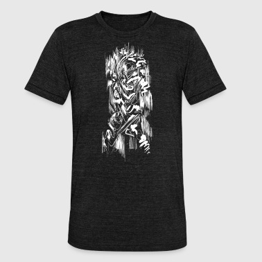 Samurai / White - Abstract Tatoo - Unisex Tri-Blend T-Shirt by Bella & Canvas