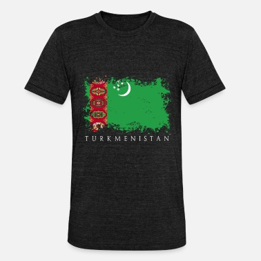 Asia Central Turkmenistán Asia Central bandera bandera país - Camiseta triblend unisex