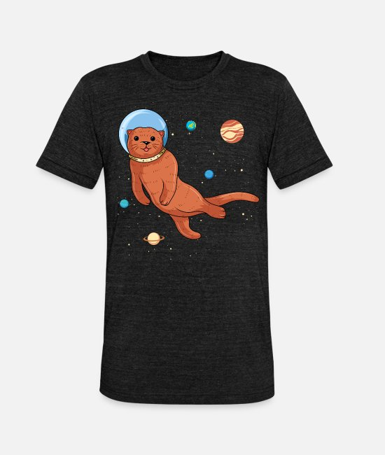 Derb T-Shirts - Otter as an astronaut in space - Otter - Unisex Tri-Blend T-Shirt heather black