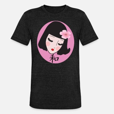 Japanese Calligraphy Japanese geisha with cherry blossom and calligraphy - Unisex Tri-Blend T-Shirt