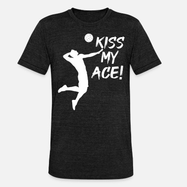 Volleyballspruch Kiss my Ace | lustiger Volleyballspruch - Unisex T-Shirt meliert