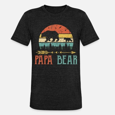 Daddy Papa bear T Shirt Vintage Daddy Wildling Father - Unisex Tri-Blend T-Shirt
