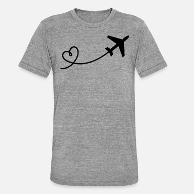Stewardess Airplane flyer with heart in black - Unisex Tri-Blend T-Shirt