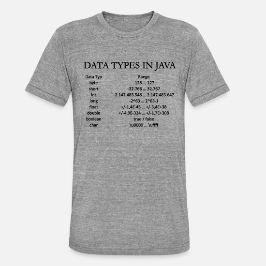 Data T-Shirts - DATA TYPES IN JAVA (b) - Unisex T-Shirt meliert Grau meliert