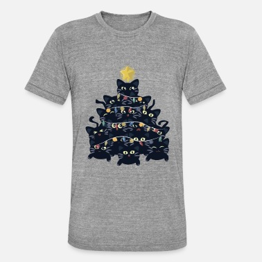 Black Christmas tree made of black cats - Unisex Tri-Blend T-Shirt