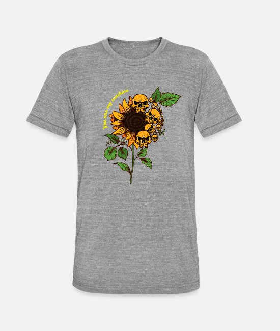 Flora T-Shirts - Sunflower Skull - Sunflower Skull Sunshine - Unisex Tri-Blend T-Shirt heather grey