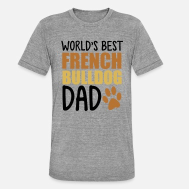 Bulldogge Worlds Best French Bulldog Dad - Unisex T-Shirt meliert