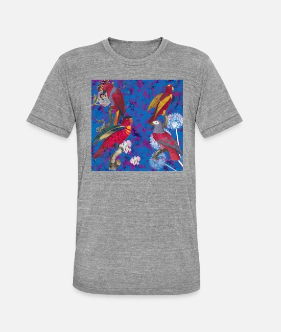 Blossoms T-Shirts - colourful parrots - Unisex Tri-Blend T-Shirt heather grey