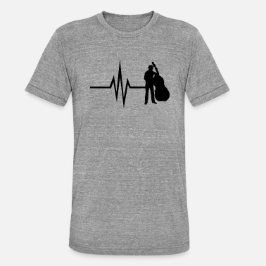 Double Bass My heart beats for double bass instrument bass - Unisex Tri-Blend T-Shirt by Bella & Canvas