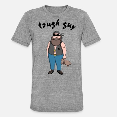 Tough Guy tough guy with teddy bear - Unisex Tri-Blend T-Shirt