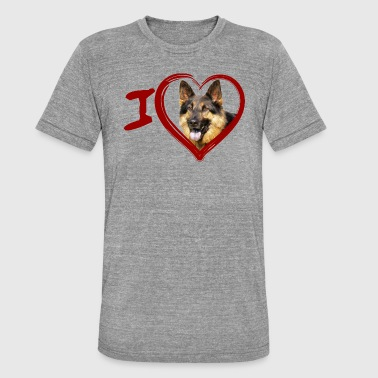 Germaanse Herder German Shepherd - German Sheperd Dog (Painting) - Unisex tri-blend T-shirt van Bella + Canvas