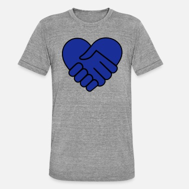 Hand On Heart Hand in hand heart blue - Unisex Tri-Blend T-Shirt by Bella & Canvas
