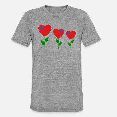 70s Retro heart Cute 70s flowers - Unisex Tri-Blend T-Shirt