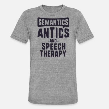 Antic Semantics Antics And Speech Therapy TShirt SLP - Unisex Tri-Blend T-Shirt by Bella & Canvas