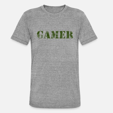Shoot Em Up Gamer Camouflage Player Console PC Online - Unisex Tri-Blend T-Shirt by Bella & Canvas