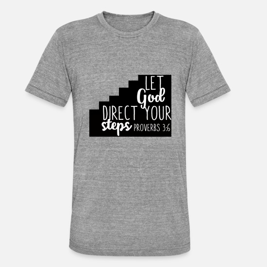 Christian T-Shirts - Let God direct christian christian gift - Unisex Tri-Blend T-Shirt heather grey