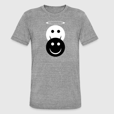 Chicos Demonio Ángel y demonio Divertidos emoticones. Buena chica. - Camiseta Tri-Blend unisex de Bella + Canvas