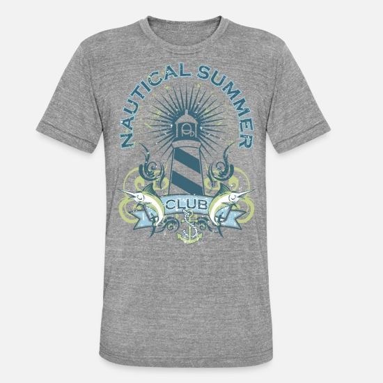 Nautical T-Shirts - Nautical Summer Club - Unisex Tri-Blend T-Shirt heather grey