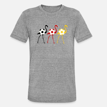 Total Football Soccer flamingo with Germany flag - Unisex Tri-Blend T-Shirt by Bella & Canvas