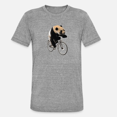 Kids Bike Bike Panda Bicycle Gift Kids Animal Biking Bear - Unisex Tri-Blend T-Shirt by Bella & Canvas