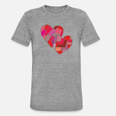 Print Two Hearts two hearts - Unisex Tri-Blend T-Shirt