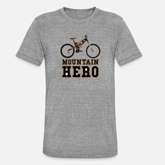 Mountain Biking T-Shirts - Mountain Bike Bike ride hero - Unisex Tri-Blend T-Shirt heather grey