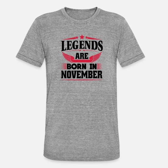 Horoscope T-Shirts - Legends Are Born In November - Unisex Tri-Blend T-Shirt heather grey