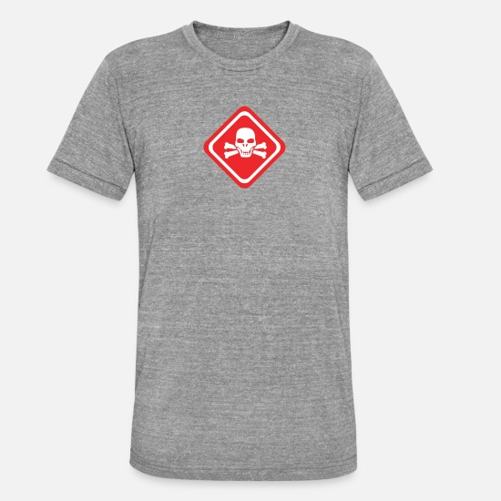 Toxic T-Shirts - Caution Toxic symbol - Unisex Tri-Blend T-Shirt heather grey