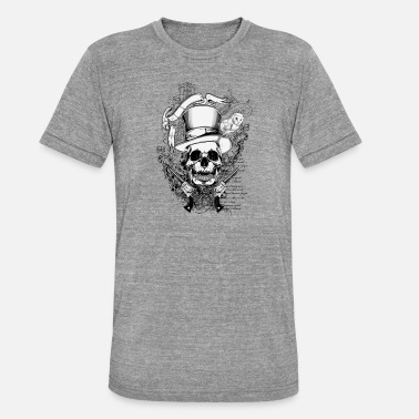 Cowboy Skull On Parchment T-shirt Design - Unisex Tri-Blend T-Shirt