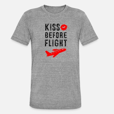 Cockpit Kiss before Flight - Aviation Flugbegleiter - Unisex T-Shirt meliert