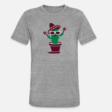 Sombrero Cactus with sombrero and maracas - Unisex Tri-Blend T-Shirt
