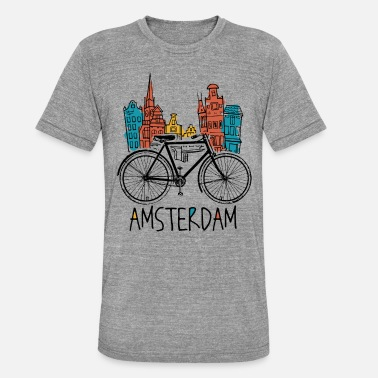 Holland Amsterdam - Holland Netherlands Retro Bicycle - Unisex Tri-Blend T-Shirt