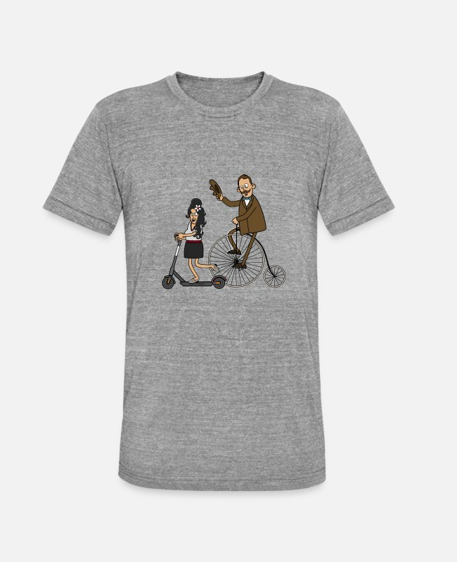 Hipster T-Shirts - Cyclists and e-scooters - light surface - Unisex Tri-Blend T-Shirt heather grey