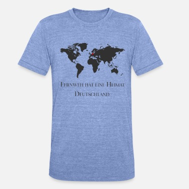 World Map Wanderlust has a home, travel, world map - Unisex Tri-Blend T-Shirt by Bella & Canvas