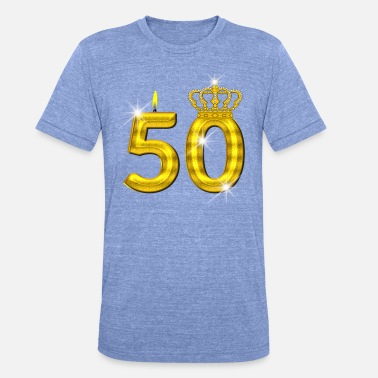 Prince 50 birthday - Crown - candle - gold - Unisex Tri-Blend T-Shirt