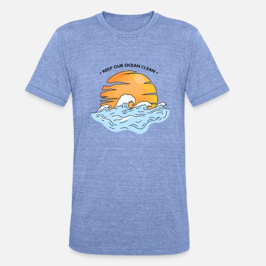 Clean Oceans Sunset on the clean ocean - Unisex Tri-Blend T-Shirt