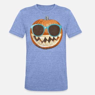 81ac155f9c naranja calabaza de Halloween con gafas de sol - Camiseta triblend unisex