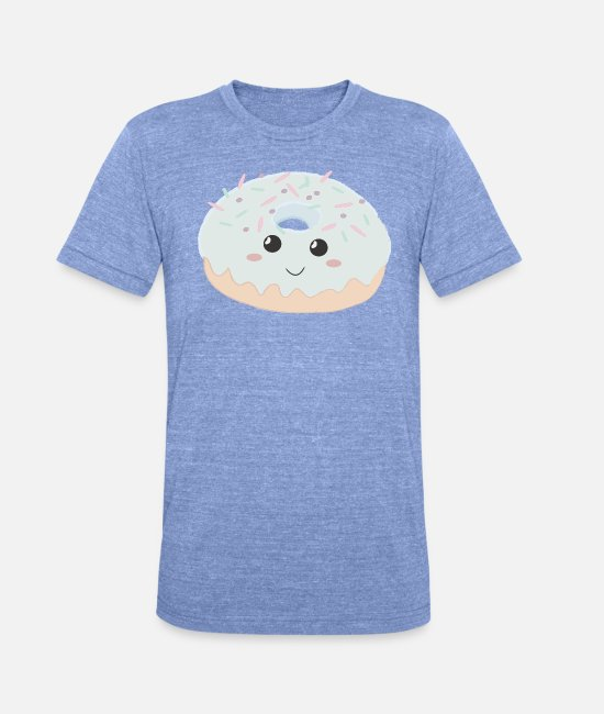 Beady Eyes T-Shirts - Sweet donut sugar junkie gift - Unisex Tri-Blend T-Shirt heather blue