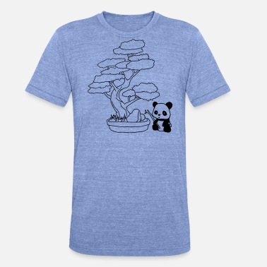 Japanese Bear Japanese design bonsai with panda bear - Unisex Tri-Blend T-Shirt by Bella & Canvas