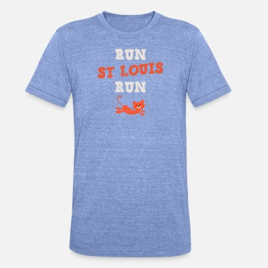 St Louis Baseball-Lauf St. Louis Run Rally Cat Team Fans - Unisex T-Shirt meliert