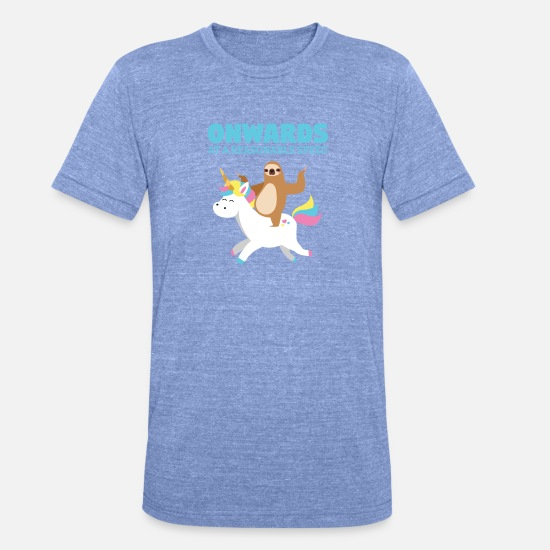 Birthday T-Shirts - Funny sloth unicorn kids gift Unicorn - Unisex Tri-Blend T-Shirt heather blue