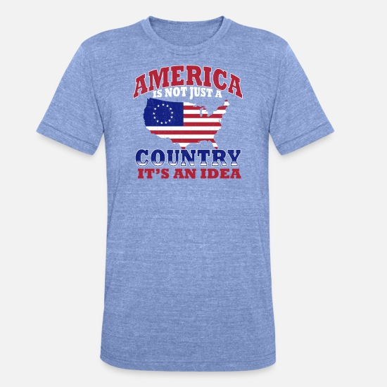 Union Jack T-shirts - Betsy Ross USA flag - T-shirt chiné unisexe bleu chiné