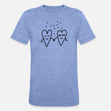 Loved Valentines Day Love Hearts Couple Relationship girlfriend - Unisex Tri-Blend T-Shirt