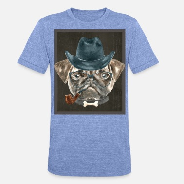 Pug Cowboy Hat Black Glasses Pipe Collar Bone - Unisex Tri-Blend T-Shirt by Bella & Canvas