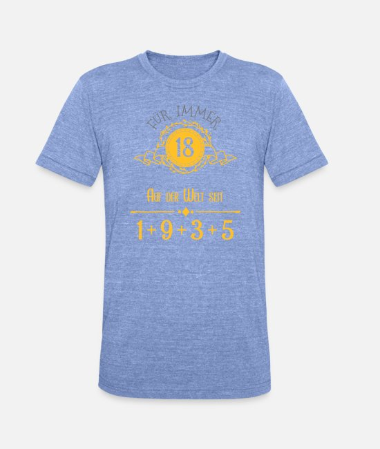Birthday T-Shirts - Forever Young! Year 1 + 9 + 3 + 5 = 18 years - Unisex Tri-Blend T-Shirt heather blue