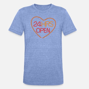 Neon Neon: 24 HRS open heart - Unisex Tri-Blend T-Shirt