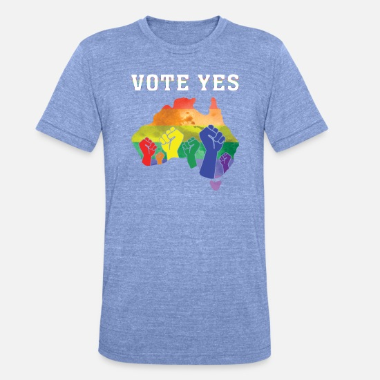 Gay Pride T-Shirts - Vote Yes - Unisex Tri-Blend T-Shirt heather blue