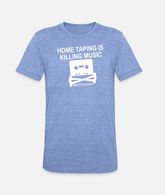 Nineties T-Shirts - Personalize: Home Taping - Unisex Tri-Blend T-Shirt heather blue