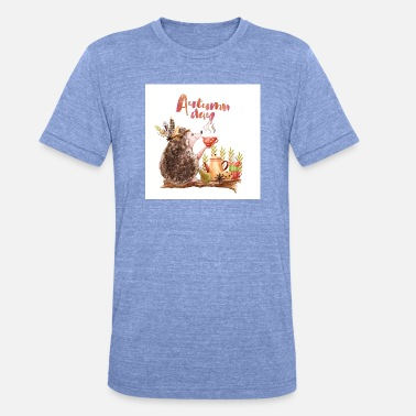 Forest Dweller Autumn forest dwellers - the hedgehog - Unisex Tri-Blend T-Shirt by Bella & Canvas