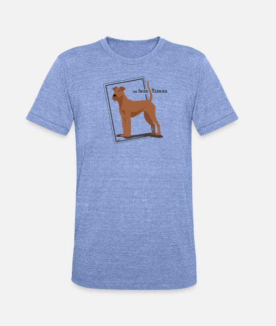Irish T-Shirts - the Irish Terrier by IxCÖ - Unisex Tri-Blend T-Shirt heather blue